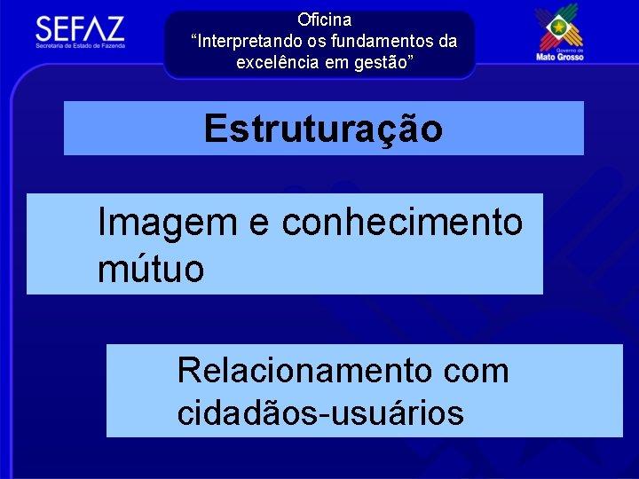 """Oficina """"Interpretando os fundamentos da excelência em gestão"""" Estruturação Imagem e conhecimento mútuo Relacionamento"""