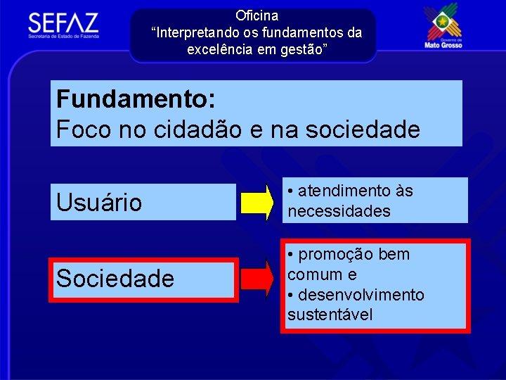 """Oficina """"Interpretando os fundamentos da excelência em gestão"""" Fundamento: Foco no cidadão e na"""