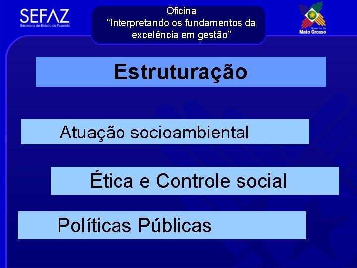 """Oficina """"Interpretando os fundamentos da excelência em gestão"""" Estruturação Atuação socioambiental Ética e Controle"""