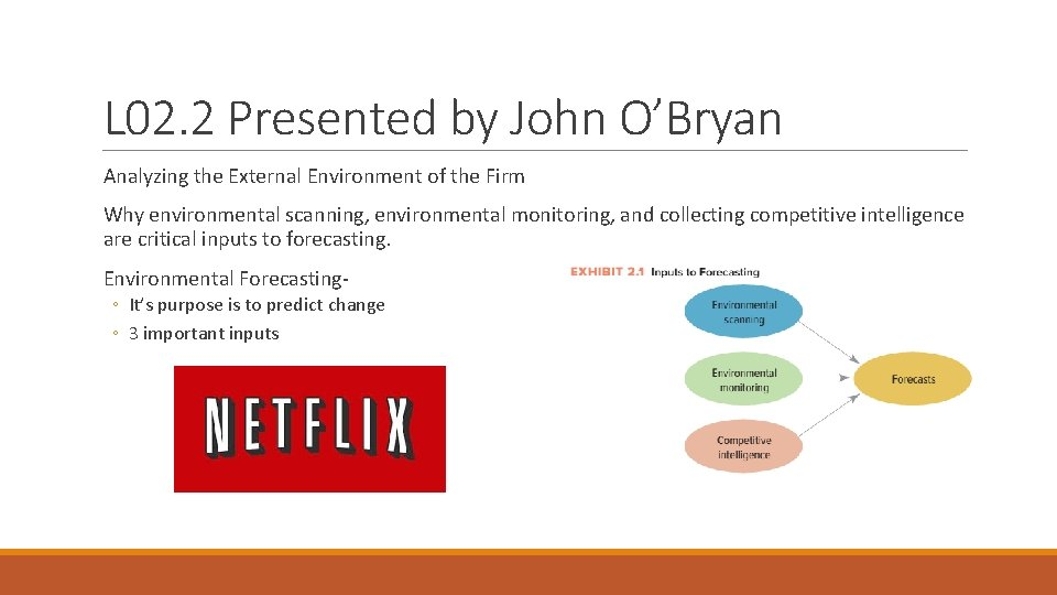 L 02. 2 Presented by John O'Bryan Analyzing the External Environment of the Firm