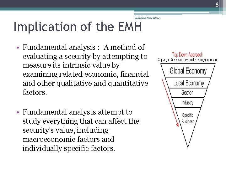 8 Bodi Kane Marcus Ch 5 Implication of the EMH • Fundamental analysis :