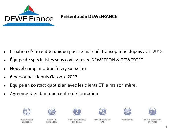 Présentation DEWEFRANCE Création d'une entité unique pour le marché francophone depuis avril 2013 Équipe
