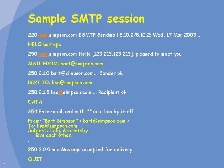 Sample SMTP session 220 mail. simpson. com ESMTP Sendmail 8. 10. 2/8. 10. 2;