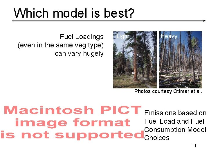 Which model is best? Fuel Loadings (even in the same veg type) can vary