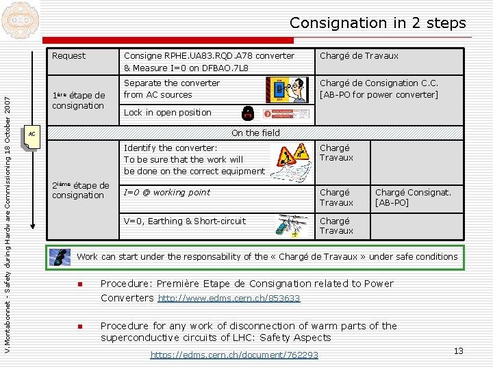 Consignation in 2 steps V. Montabonnet - Safety during Hardware Commissioning 18 October 2007