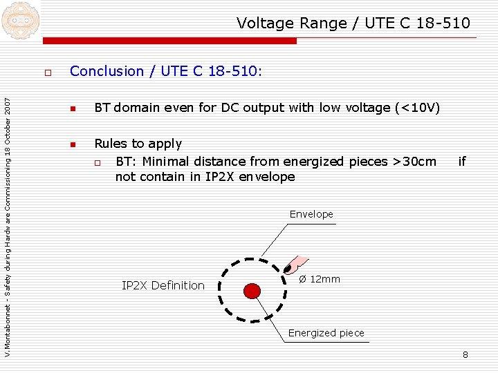 Voltage Range / UTE C 18 -510 V. Montabonnet - Safety during Hardware Commissioning