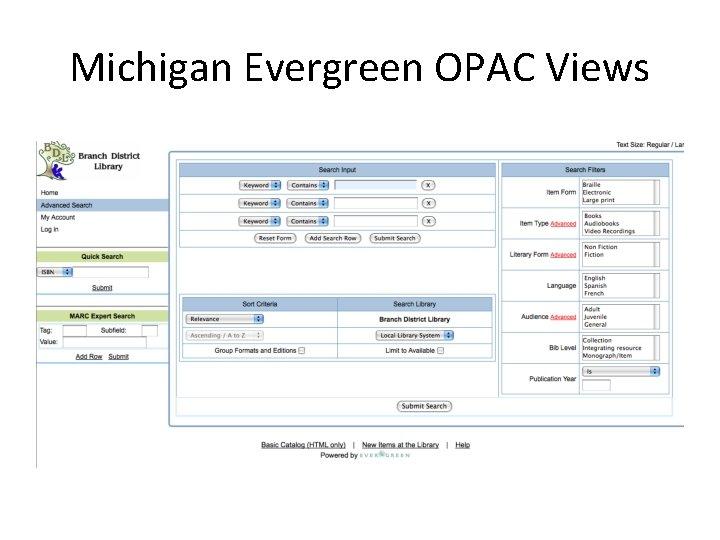 Michigan Evergreen OPAC Views