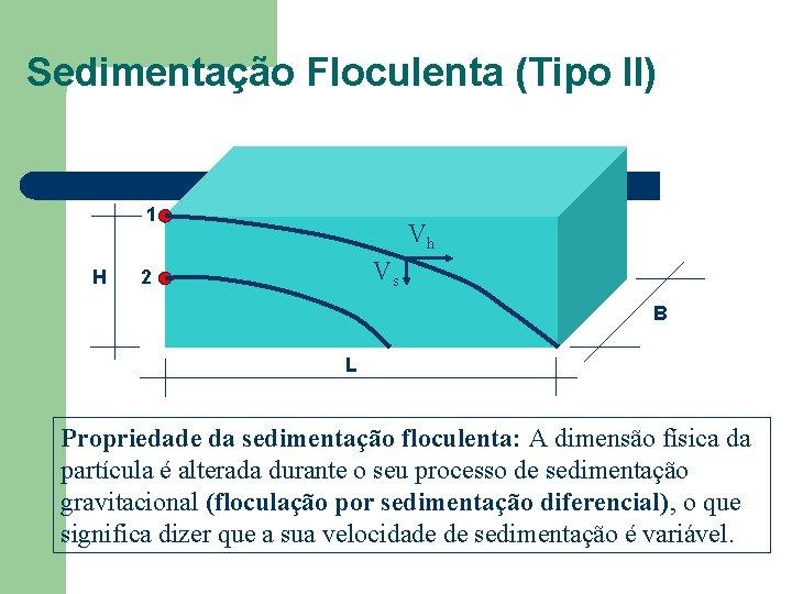 Sedimentação Floculenta (Tipo II) 1 H Vh Vs 2 B L Propriedade da sedimentação
