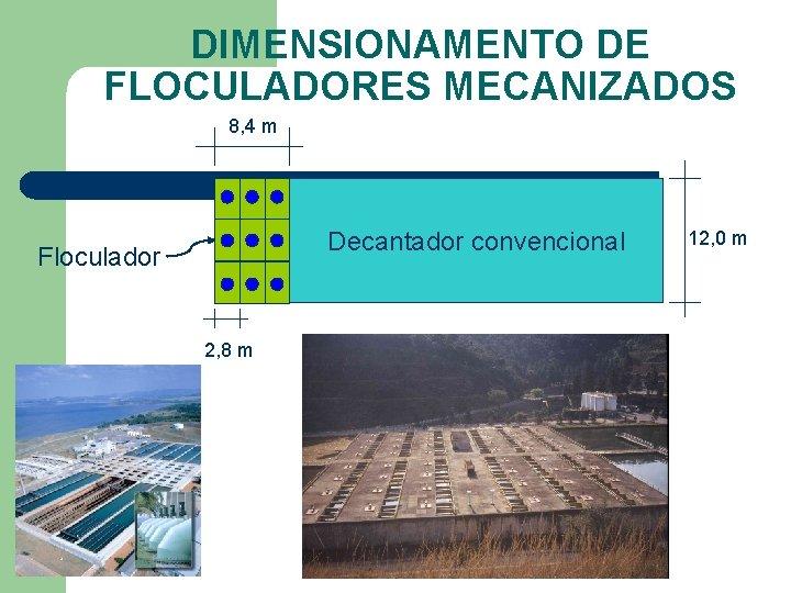 DIMENSIONAMENTO DE FLOCULADORES MECANIZADOS 8, 4 m Decantador convencional Floculador 2, 8 m 12,
