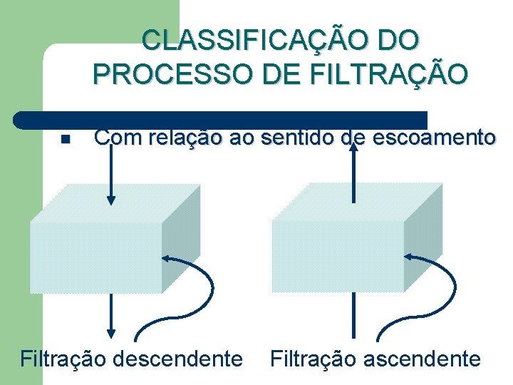 CLASSIFICAÇÃO DO PROCESSO DE FILTRAÇÃO n Com relação ao sentido de escoamento Filtração descendente