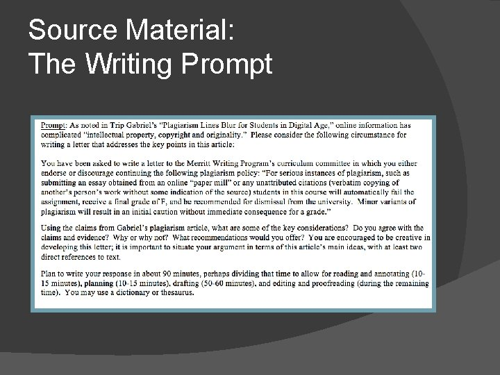 Source Material: The Writing Prompt