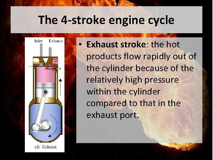 The 4 -stroke engine cycle • Exhaust stroke: the hot products flow rapidly out
