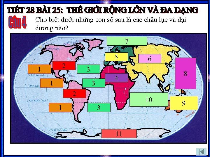 Cho biết dưới những con số sau là các châu lục và đại dương