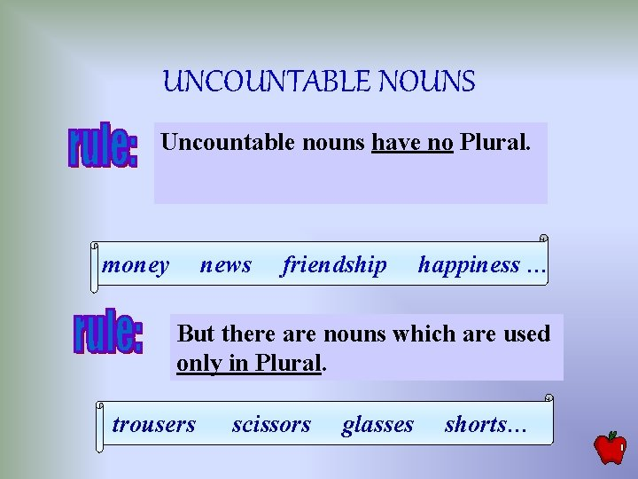 UNCOUNTABLE NOUNS Uncountable nouns have no Plural. money news friendship happiness … But there