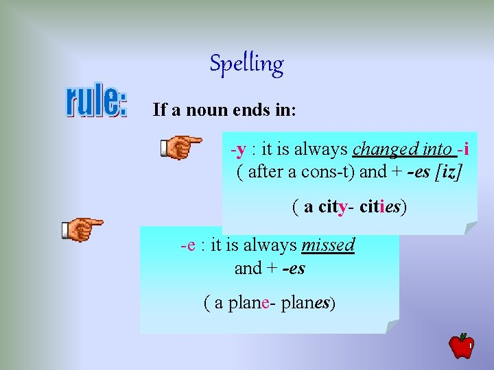 Spelling If a noun ends in: -y : it is always changed into -i