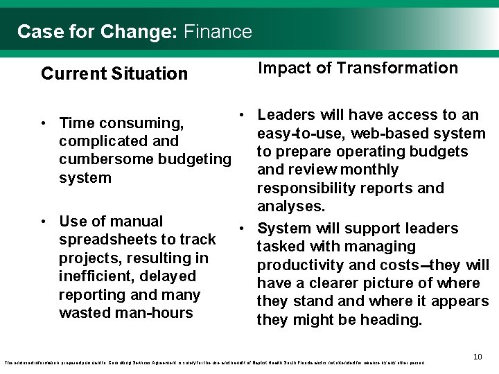 Case for Change: Finance Current Situation • Time consuming, complicated and cumbersome budgeting system