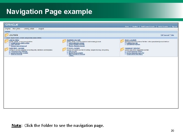 Navigation Page example Note: Click the Folder to see the navigation page. 2020