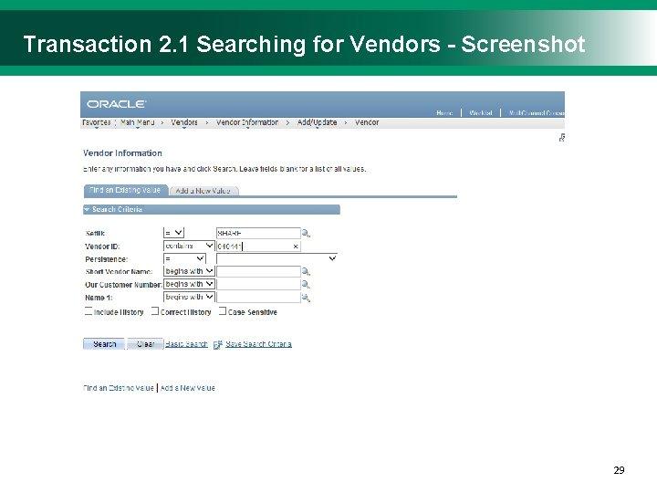 Transaction 2. 1 Searching for Vendors - Screenshot 2929