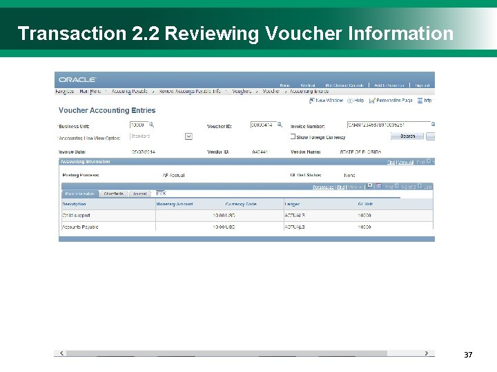 Transaction 2. 2 Reviewing Voucher Information 3737
