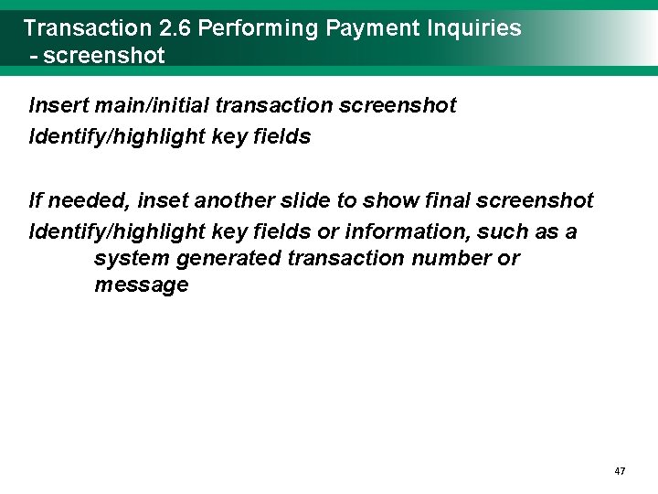 Transaction 2. 6 Performing Payment Inquiries - screenshot Insert main/initial transaction screenshot Identify/highlight key