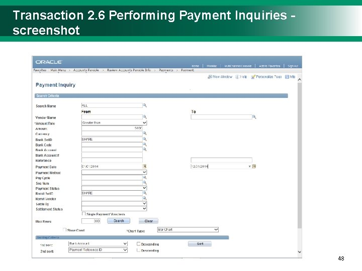 Transaction 2. 6 Performing Payment Inquiries - screenshot 4848