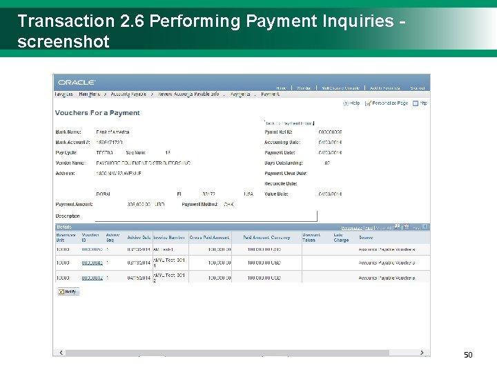 Transaction 2. 6 Performing Payment Inquiries - screenshot 5050
