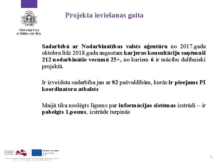 Projekta ieviešanas gaita Sadarbībā ar Nodarbinātības valsts aģentūru no 2017. gada oktobra līdz 2018.