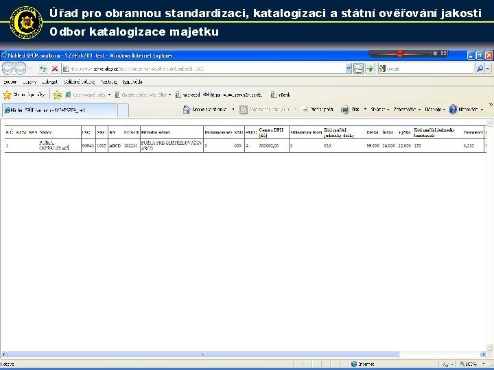 Úřad pro obrannou standardizaci, katalogizaci a státní ověřování jakosti Odbor katalogizace majetku 30