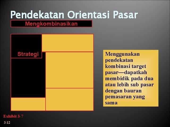 Pendekatan Orientasi Pasar Mengkombinasikan Strategi Exhibit 3 -7 3 -12 Menggunakan pendekatan kombinasi target