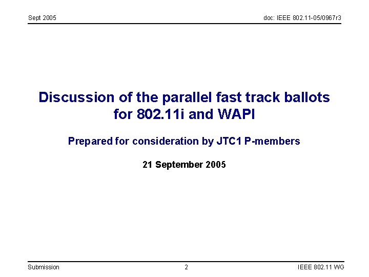 Sept 2005 doc: IEEE 802. 11 -05/0967 r 3 Discussion of the parallel fast
