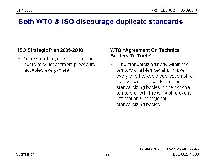 Sept 2005 doc: IEEE 802. 11 -05/0967 r 3 Both WTO & ISO discourage