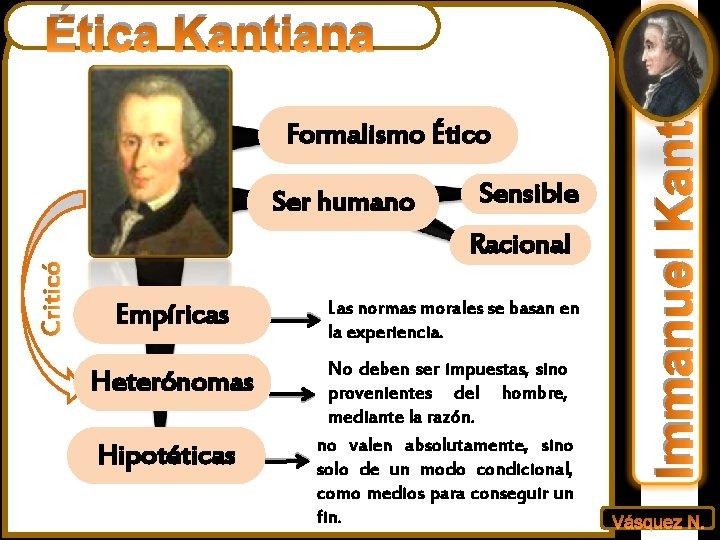Formalismo Ético Ser humano Sensible Racional Empíricas Heterónomas Hipotéticas Las normas morales se basan