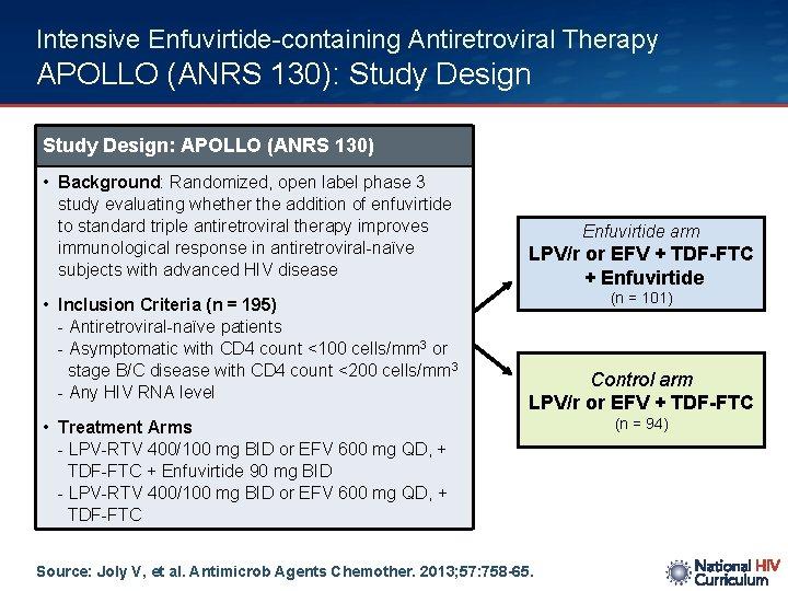 Intensive Enfuvirtide-containing Antiretroviral Therapy APOLLO (ANRS 130): Study Design: APOLLO (ANRS 130) • Background: