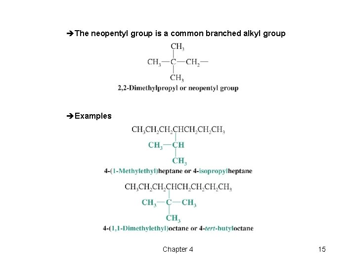 èThe neopentyl group is a common branched alkyl group èExamples Chapter 4 15
