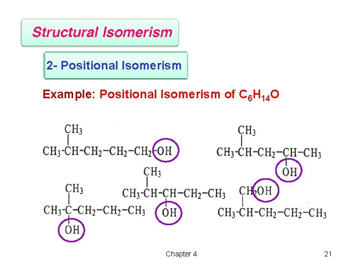 2 - Positional Isomerism Example: Positional Isomerism of C 6 H 14 O Chapter