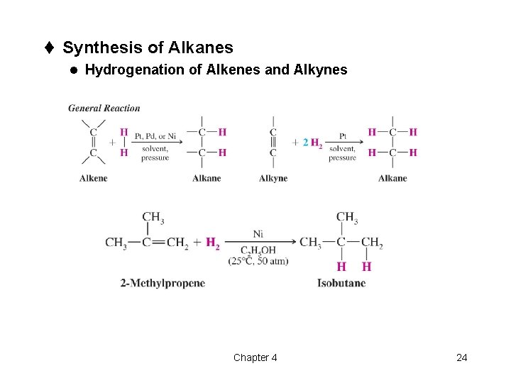 t Synthesis of Alkanes l Hydrogenation of Alkenes and Alkynes Chapter 4 24