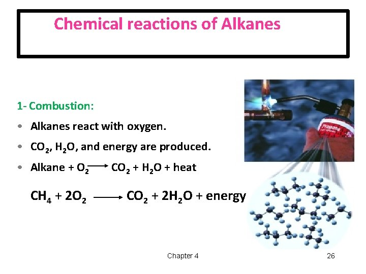 Chemical reactions of Alkanes 1 - Combustion: • Alkanes react with oxygen. • CO