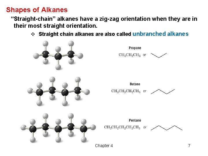 """Shapes of Alkanes """"Straight-chain"""" alkanes have a zig-zag orientation when they are in their"""