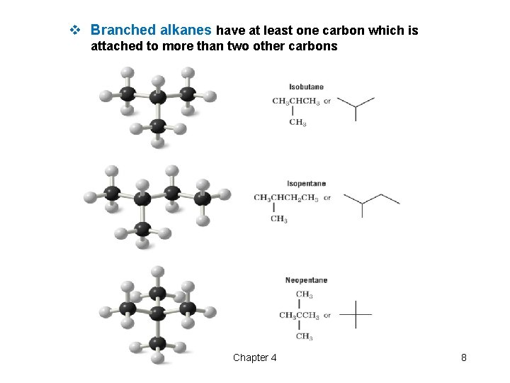 v Branched alkanes have at least one carbon which is attached to more than