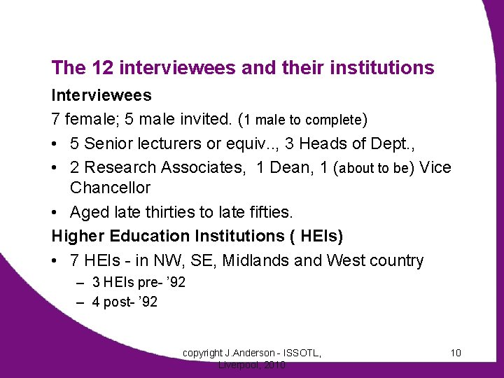 The 12 interviewees and their institutions Interviewees 7 female; 5 male invited. (1 male