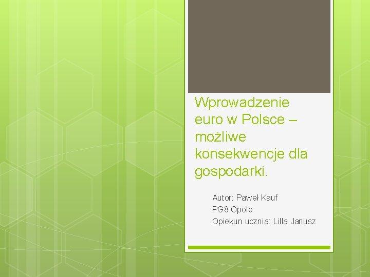 Wprowadzenie euro w Polsce – możliwe konsekwencje dla gospodarki. Autor: Paweł Kauf PG 8