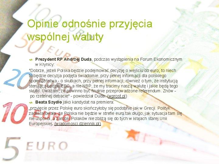 Opinie odnośnie przyjęcia wspólnej waluty Prezydent RP Andrzej Duda, podczas wystąpienia na Forum Ekonomicznym