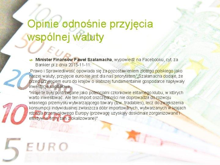 Opinie odnośnie przyjęcia wspólnej waluty Minister Finansów Paweł Szałamacha, wypowiedź na Facebooku, cyt. za