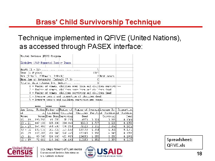 Brass' Child Survivorship Technique implemented in QFIVE (United Nations), as accessed through PASEX interface: