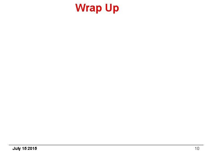 Wrap Up July 15 2015 10