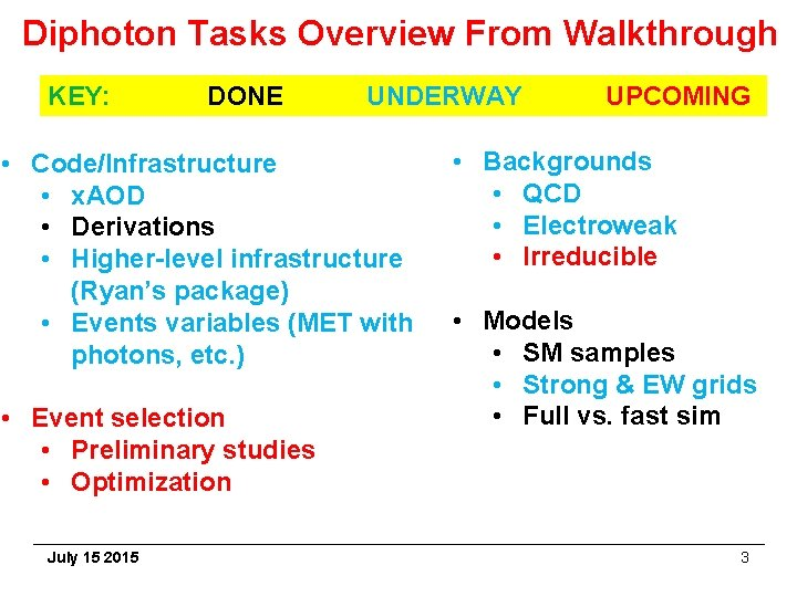 Diphoton Tasks Overview From Walkthrough KEY: DONE UNDERWAY • Code/Infrastructure • x. AOD •
