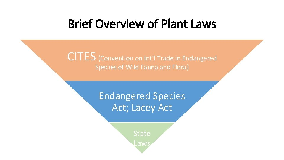 Brief Overview of Plant Laws CITES (Convention on Int'l Trade in Endangered Species of