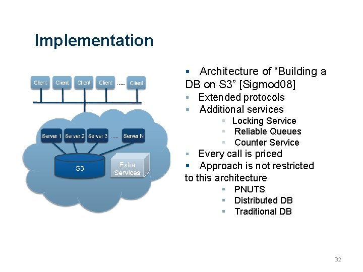 """Implementation Architecture of """"Building a DB on S 3"""" [Sigmod 08] Extended protocols Additional"""