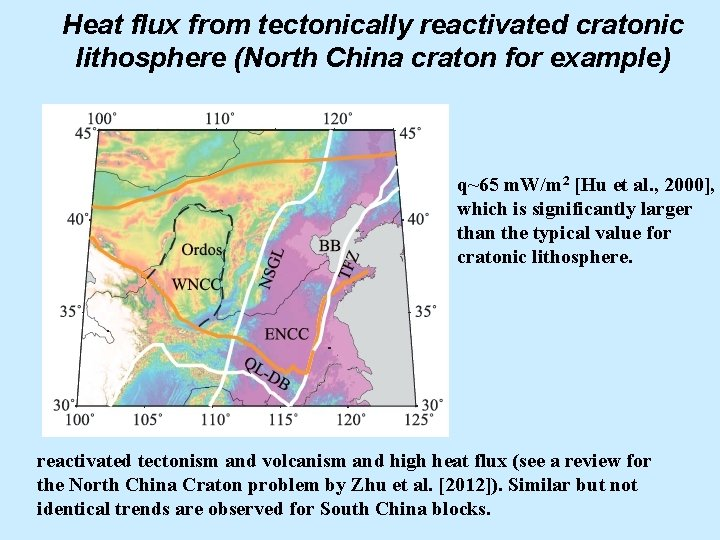 Heat flux from tectonically reactivated cratonic lithosphere (North China craton for example) q~65 m.