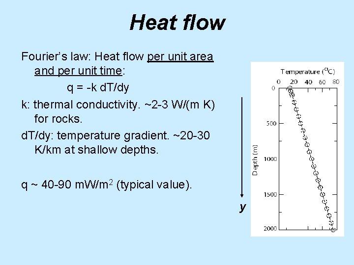 Heat flow Fourier's law: Heat flow per unit area and per unit time: q
